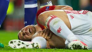 Zlatan Ibrahimovic loukkaantui vakavasti jalkapallo-ottelussa Manchesterissa 20. huhtikuuta.