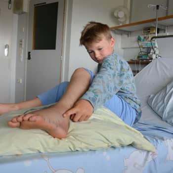 Gabriel blev biten av en huggorm och fick åka helikopter till Åbo