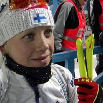 Urheilujuttuja: Viisivuotias Anton selostaa Kaisa Mäkäräisen hiihdon