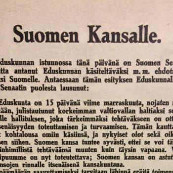 Suomen itsenäisyysjulistus P. E. Svinhufvudin lukemana