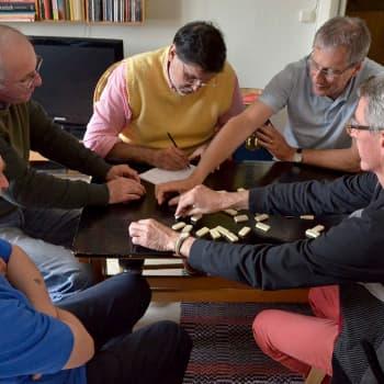 Vinddrivna, utländska, medelålders katolikers dominoklubb