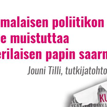 Kultakuume: Suomalaisen poliitikon puhe muistuttaa luterilaisen papin saarnaa