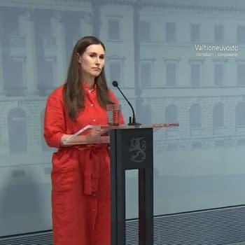 Pääministeri Marin: Suomi siirtyy koronan torjunnassa hybridistrategiaan