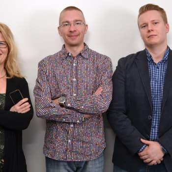 Pörssipäivä: Taloustoimittajien trio. Koolla Hurmerinta, Hämäläinen ja Karismo