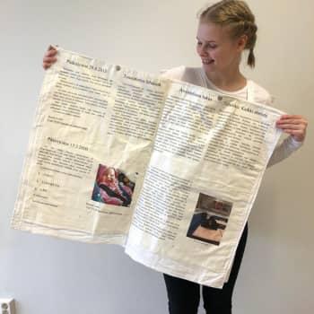 Abiturientti Roosa Laiho puketui penkkareihin sanomalehdeksi ja aloitti lukulomansa tähdäten journalistiikan opintoihin