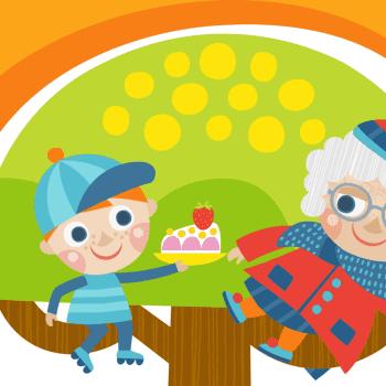 Mummo trampoliinilla 2