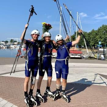 Bamse, Eddie och Limppu rullskrinnade från Nuorgam till Helsingfors - vi träffade killarna vid mållinjen