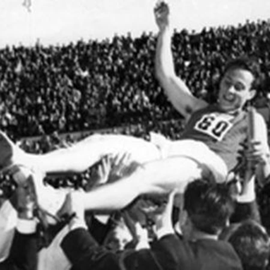 Suomi - Ruotsi yleisurheilumaaottelu Helsingissä 4 x 400 m viesti (1956)