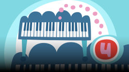 Piano. Orffit tutustuttavat soittimiin ja soitinten ääneen. Omituisista satunnaisista kohtaamisista syntyy kiinnostus soittamiseen. Kirjoittanut Hannu Sepponen.
