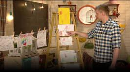 BUU-Staffan: Staffan tittar på buuklubbisarnas teckningar