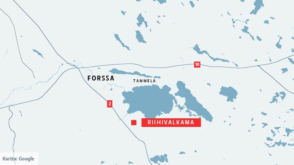 Kartta tulipalopaikasta Tammelan Riigivalkamassa