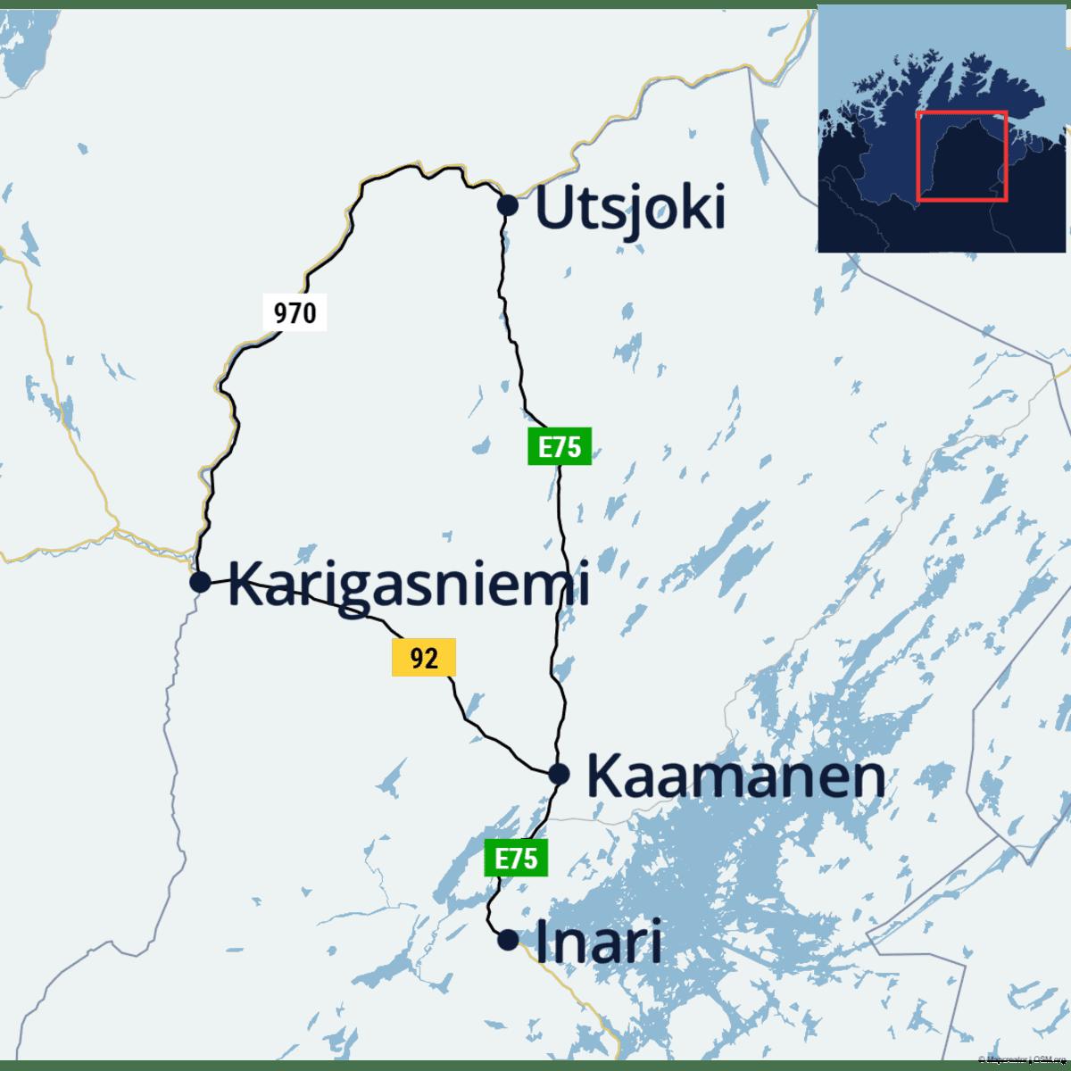 Kartta pyöräilyreitistä Inari-Kaamanen-Karigasniemi-Utsjoki-Kaamanen