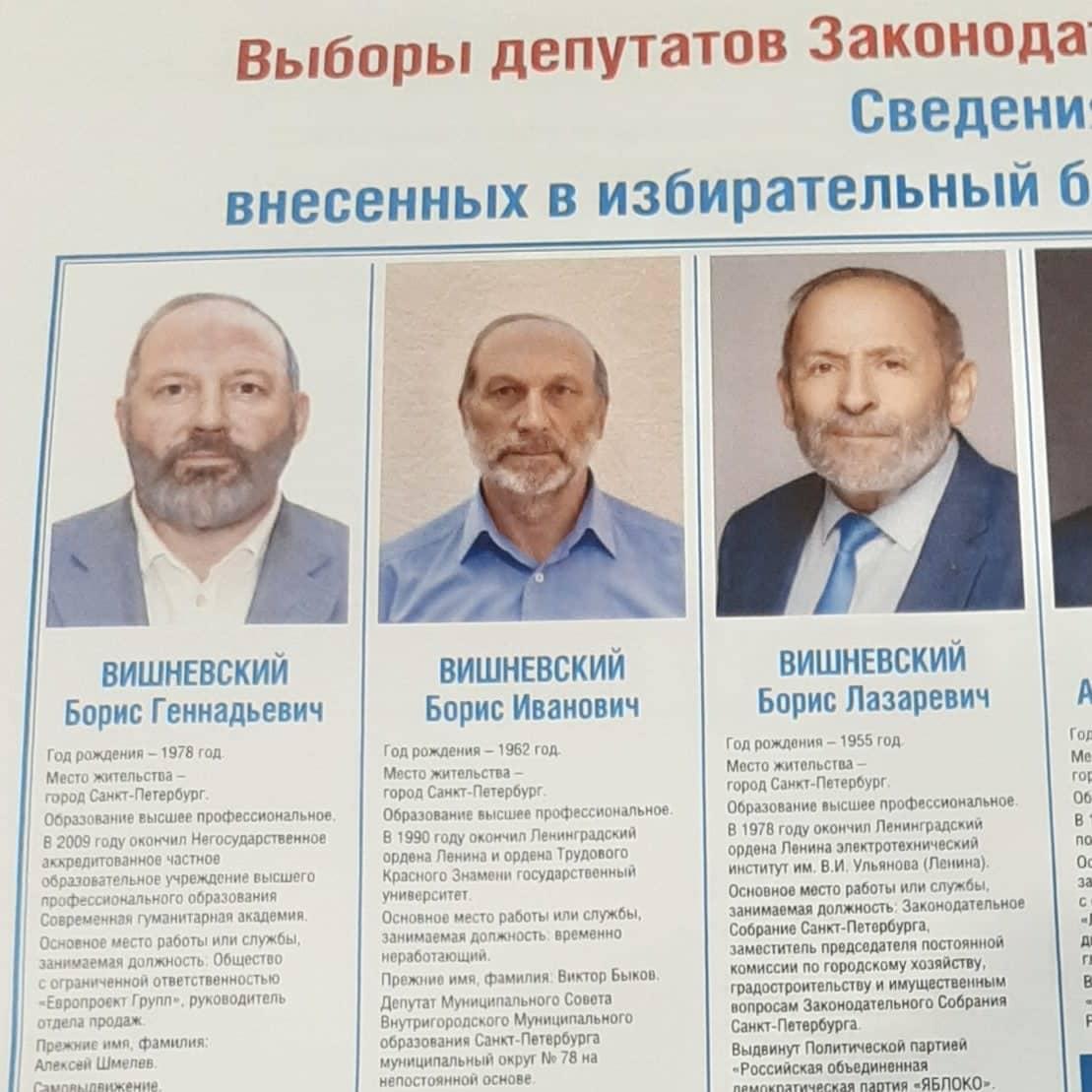 Valokuva vaalimainoksesta, kolme miestä joilla on samankaltaiset nimet.