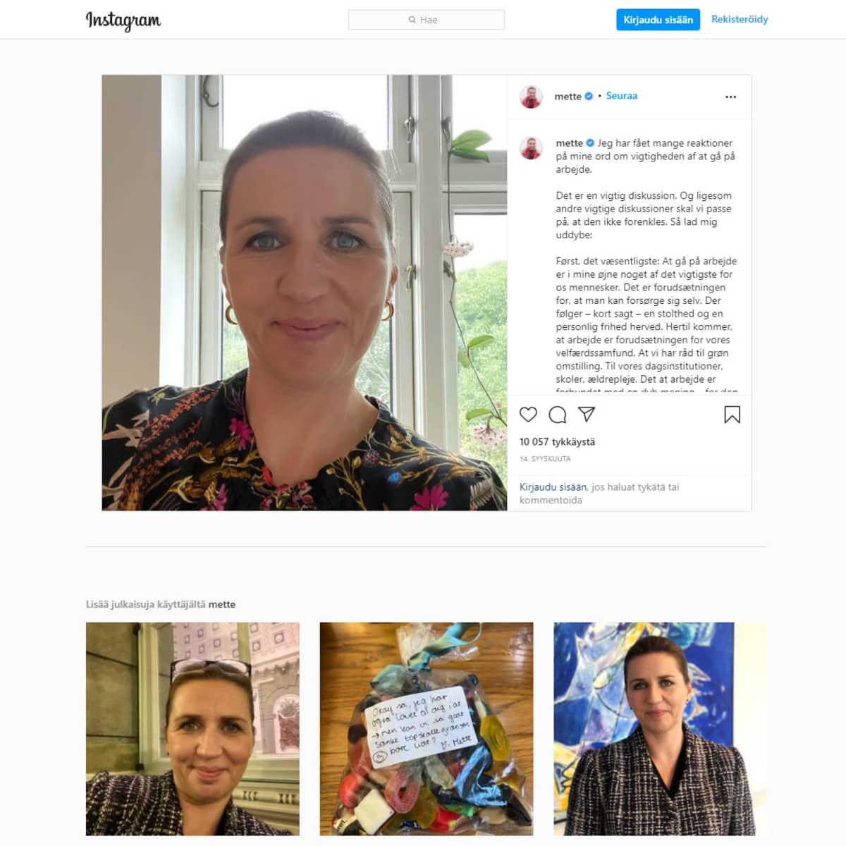 kuvakaappaus Mette Frederiksenin Instagram sivuilta