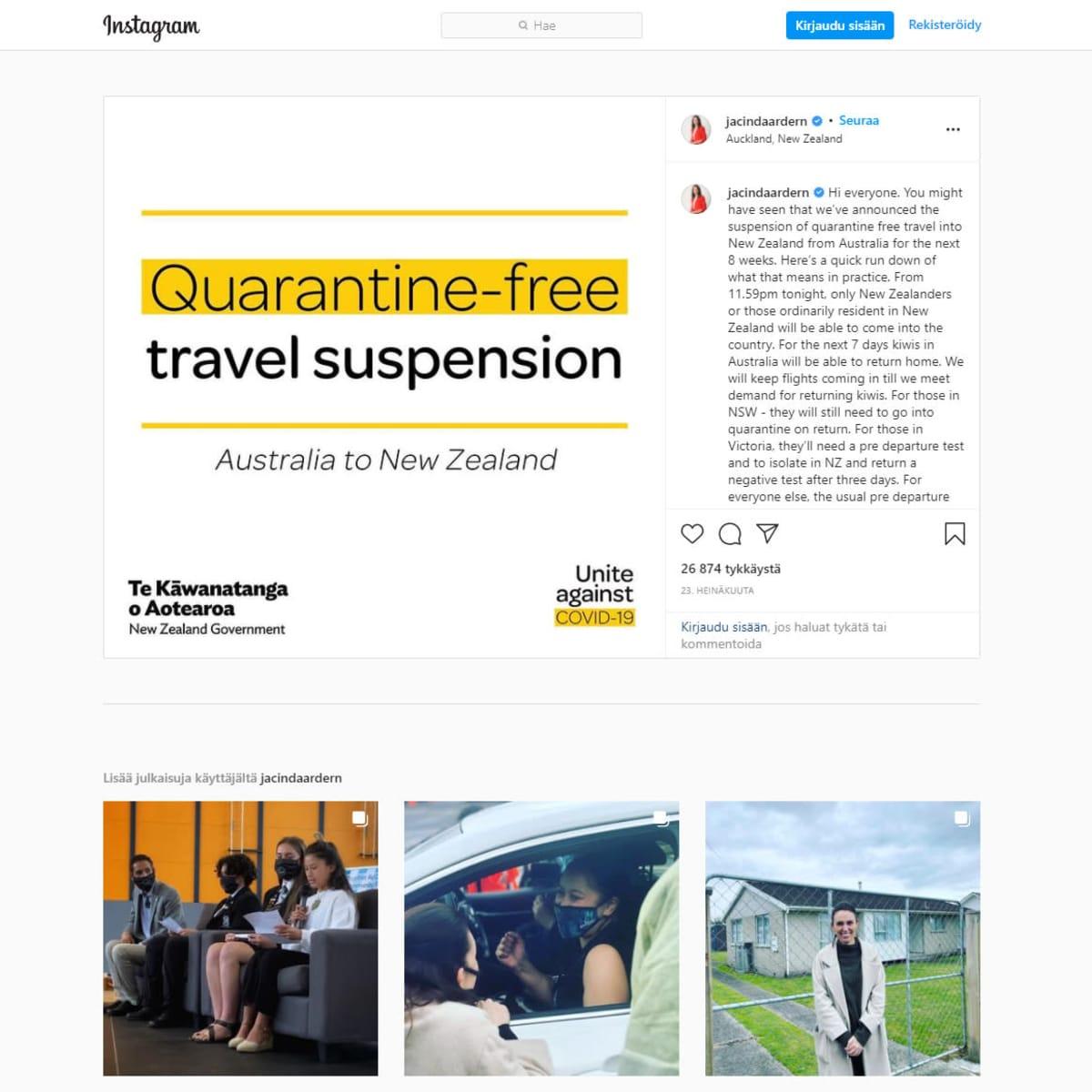 kuvakaappaus Jacinda Ardernin Instagram sivuilta