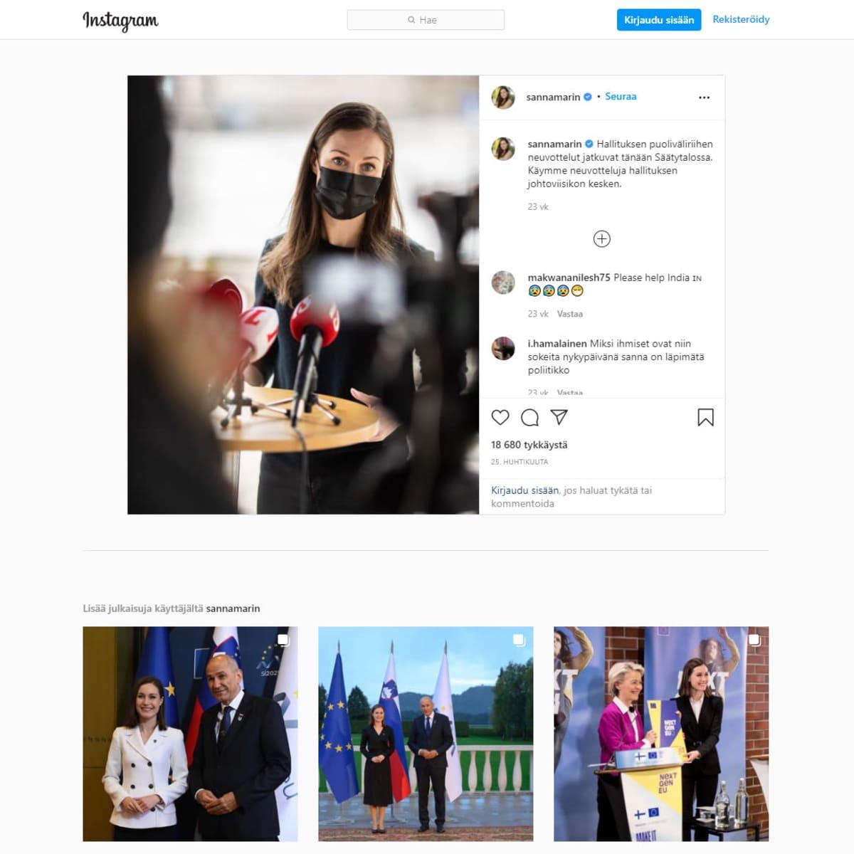 kuvakaappaus Sanna Marinin Instagram sivuilta