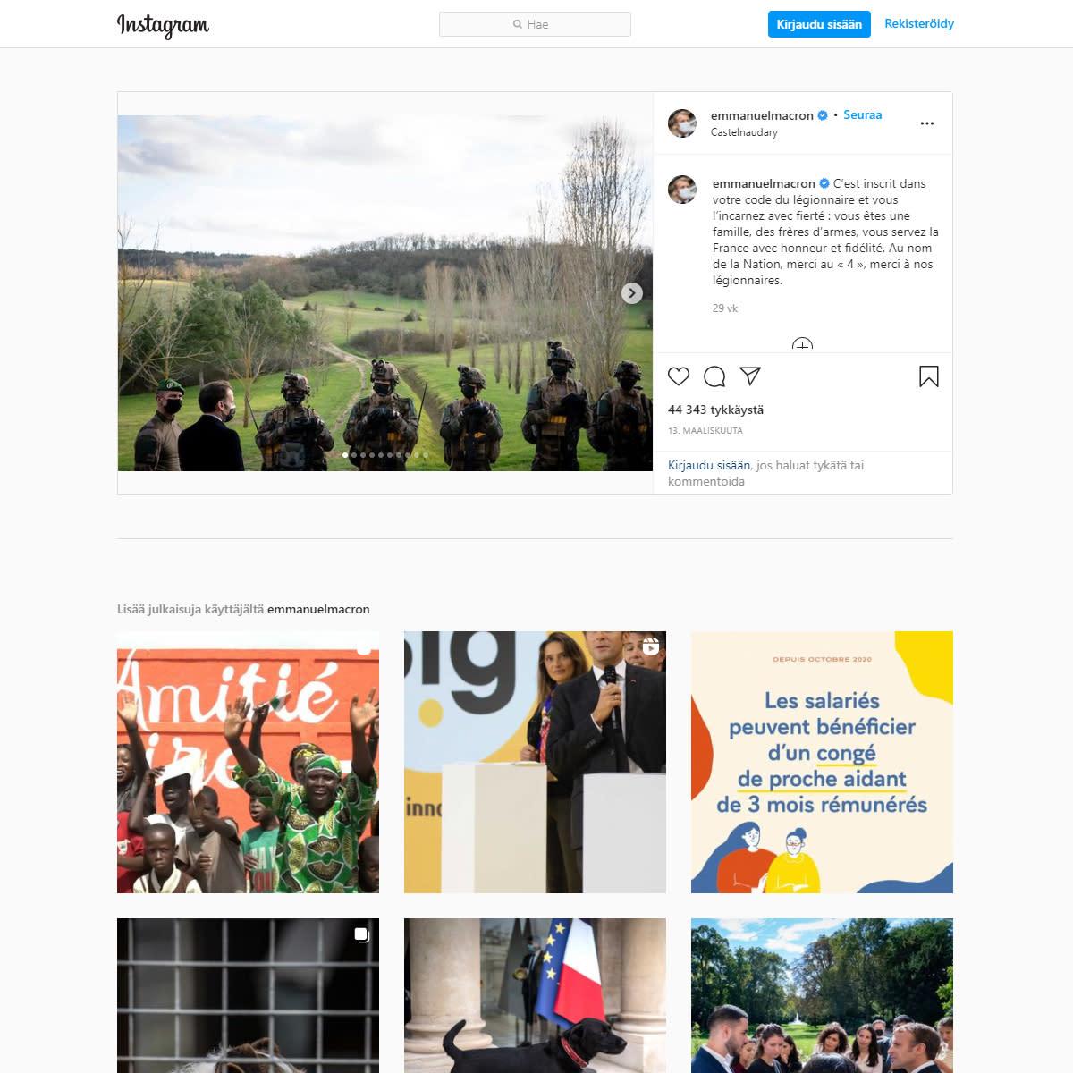 Kuvakaappaus Emmanuel Macronin Instagram-sivuilta