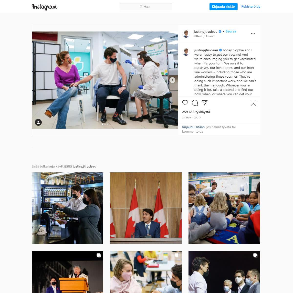 kuvakaappaus Justin Trudeaun Instagram-sivuilta