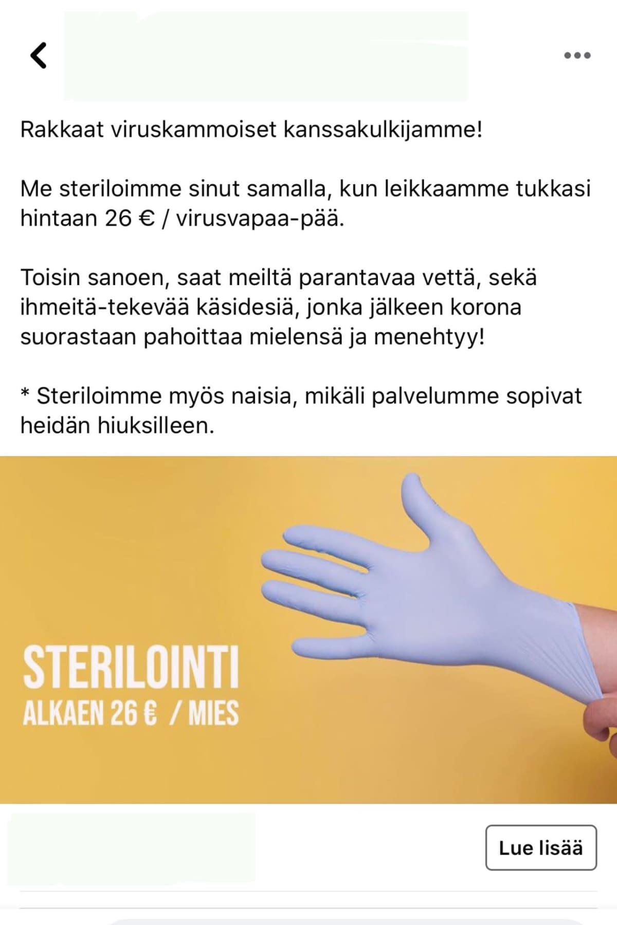 Parturiliikkeen mainos, jossa luvataan steriloida asiakas.