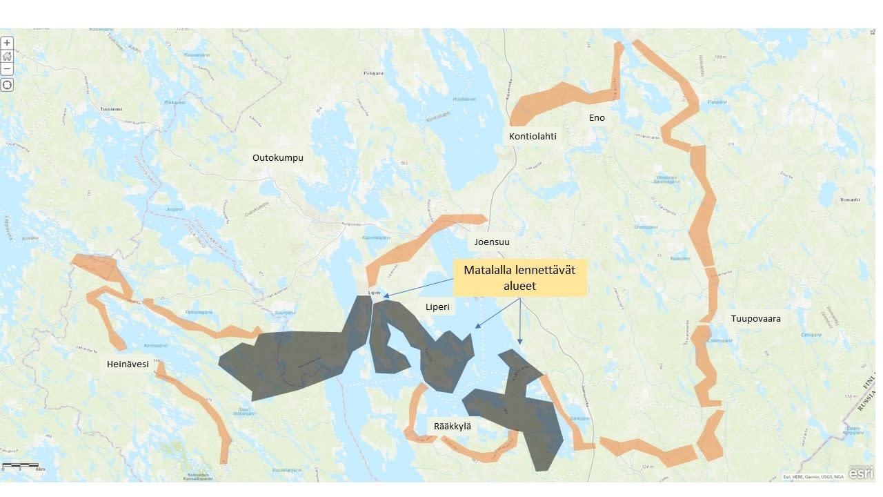 Kartta alueesta, jossa sähkölinjoja tarkastetaan.