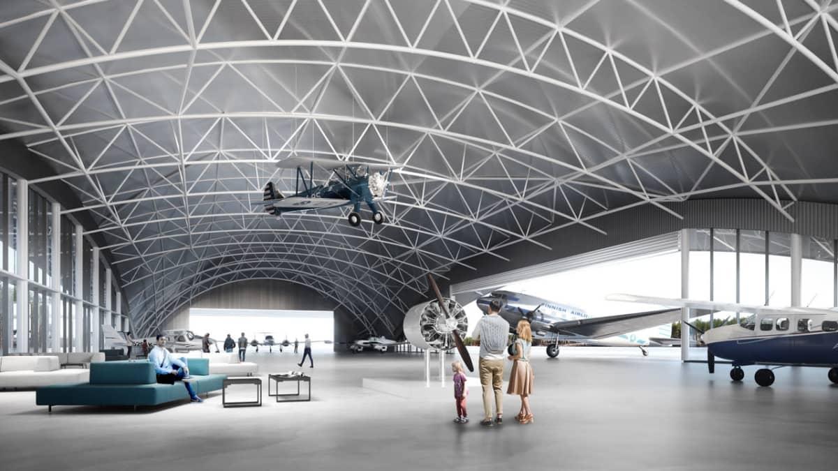 Havainnekuva Pyhtään lentokentälle suunnitteilla olevasta lentokonehallista.