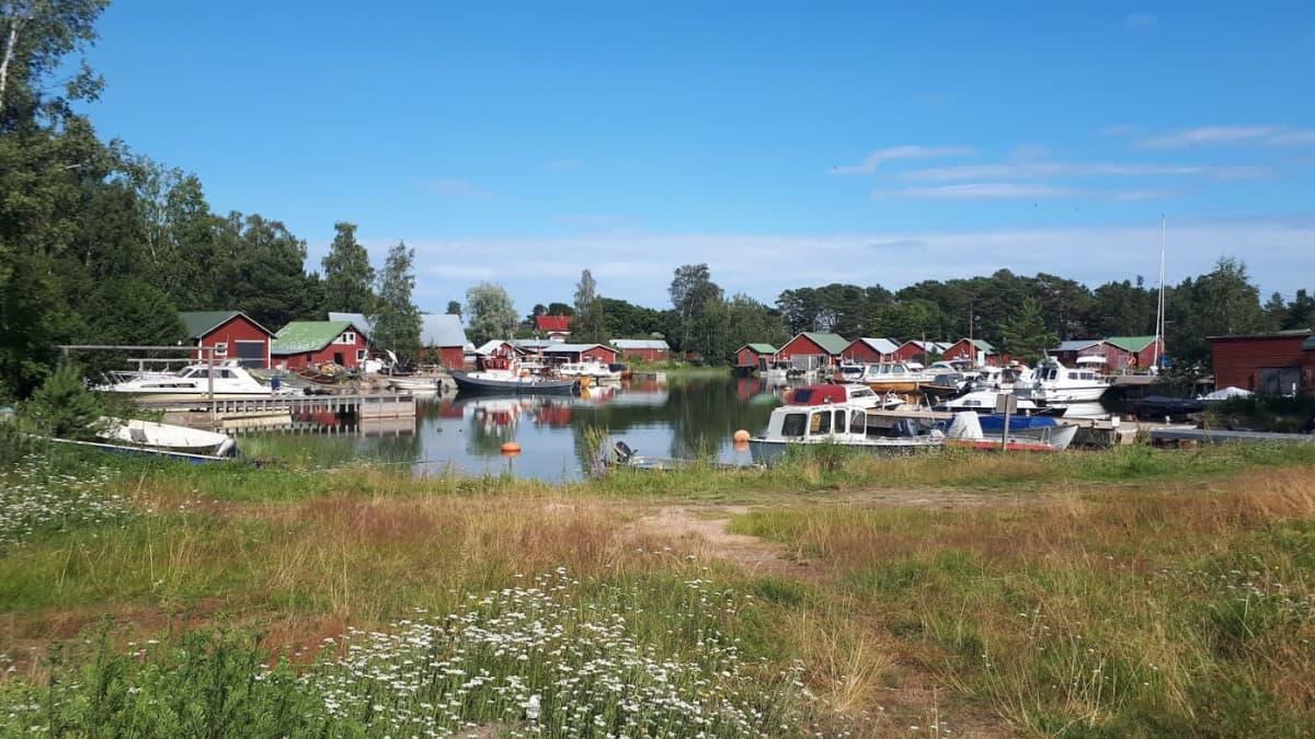Näkymä Kaunissaaren venesatamaan. Veneitä laiturissa ja punaisia venevajoja