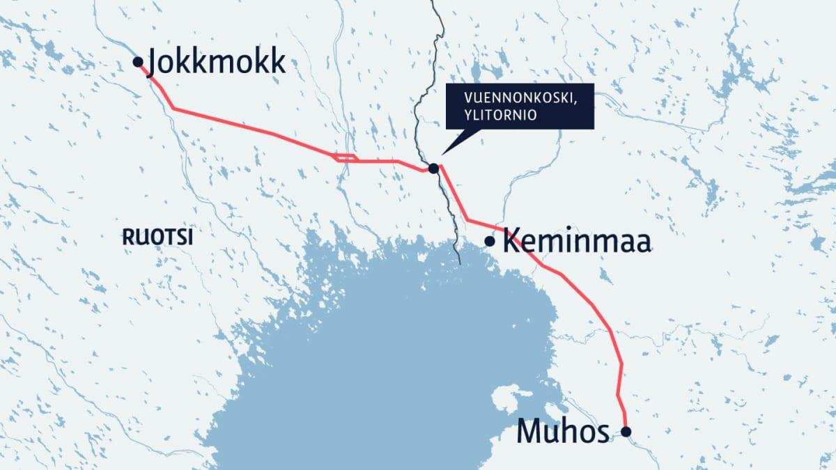 Kartta Suomen ja Ruotsin välille tulevasta 370 kilometrin voimalinjasta
