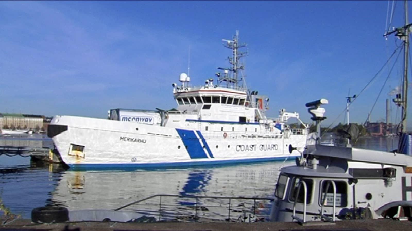 Det finländska bevakningsfartyget Merikarhu ska delta i gränsbevakningsoperationen Poseidon i Egeiska havet