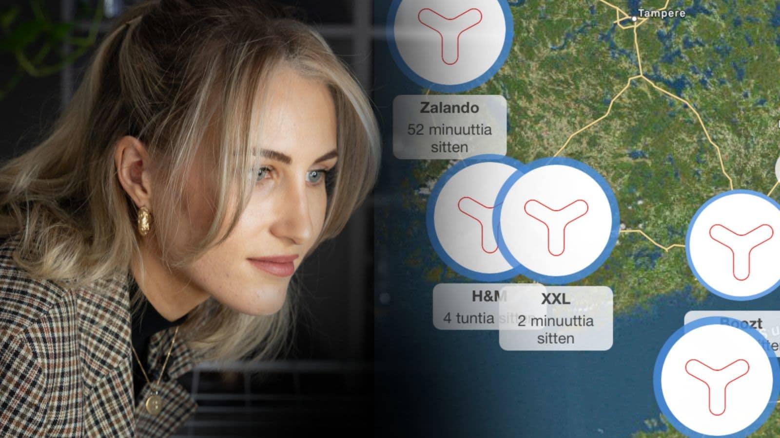Sandra Holmäng följer med sändarna via en app på sin telefon.