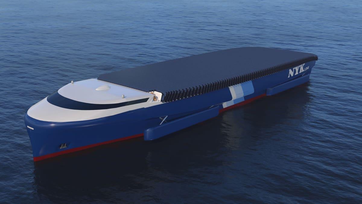 Elomaticin ja japanilaisvarustamo NYK:n suunnittelema päästötön rahtilaiva.