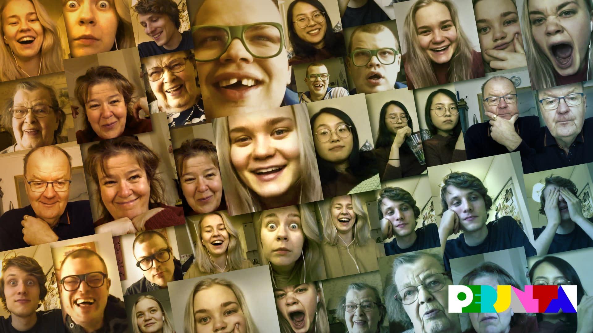 Kymmenittäin kuvakaappauksia videopuheluista, joissa ihmisillä on monia erilaisia ilmeitä.