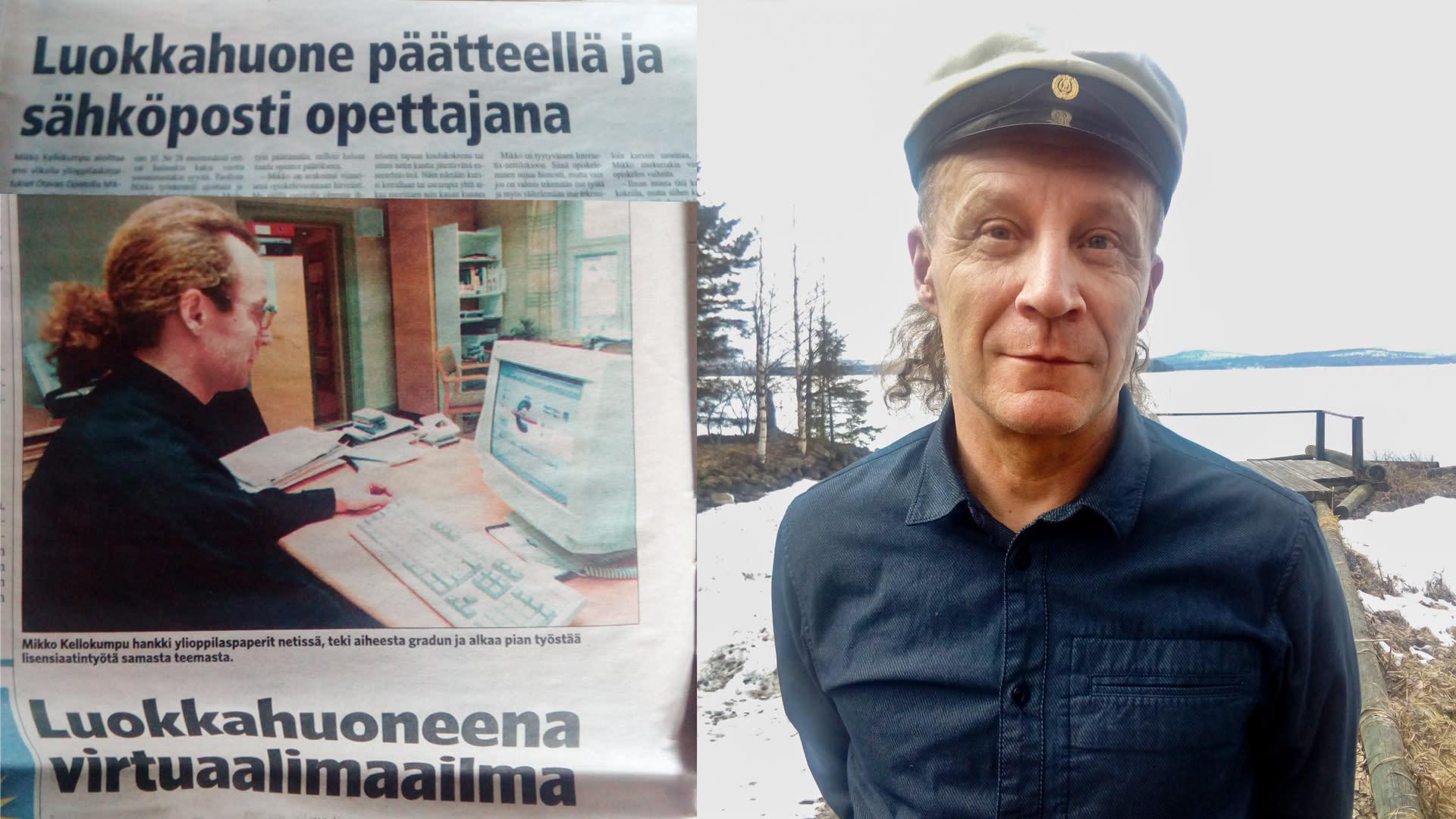 Lehtileike vuodelta 2000 ja Mikko Kellokumpu ylioppilaslakki päässään