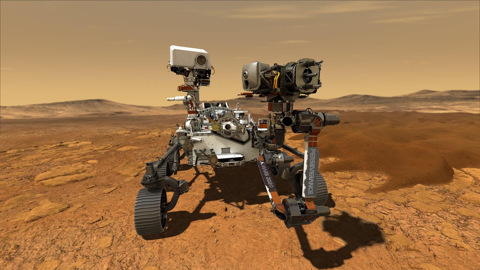 Nasan Perseverance-mönkijä Marsissa taitelijan näkemyksenä.
