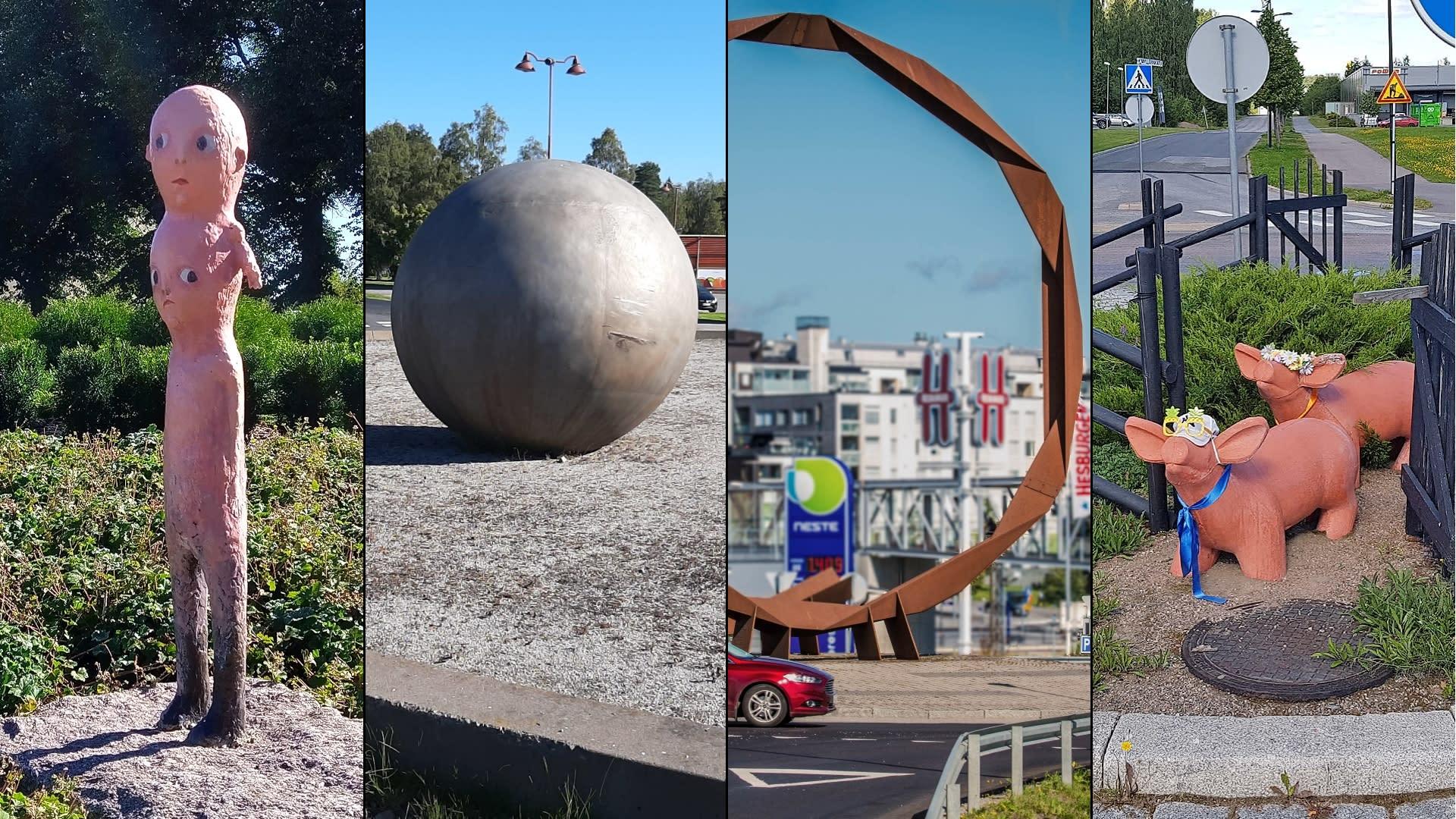 Neljä liikenneympyrään sijoitettua taideteosta eri puolilta Suomea.