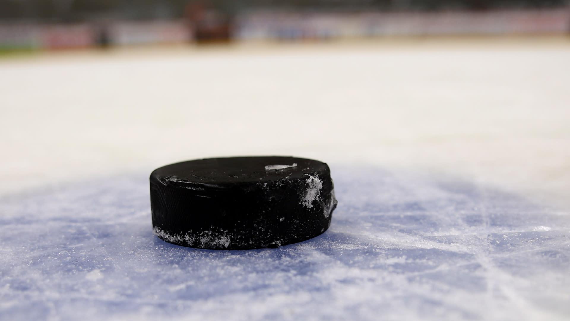 jääkiekko aloitusympyrässä.