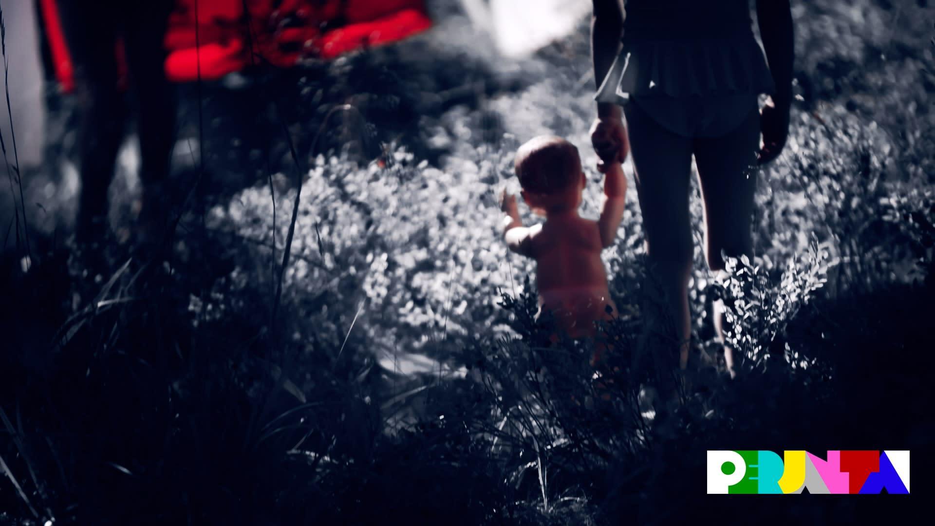 Tummasävyisessä kuvassa näkyy lapsen siluetti, joka pitelee toisessa kädessään leluvauvaa kävellessään ruohikossa.