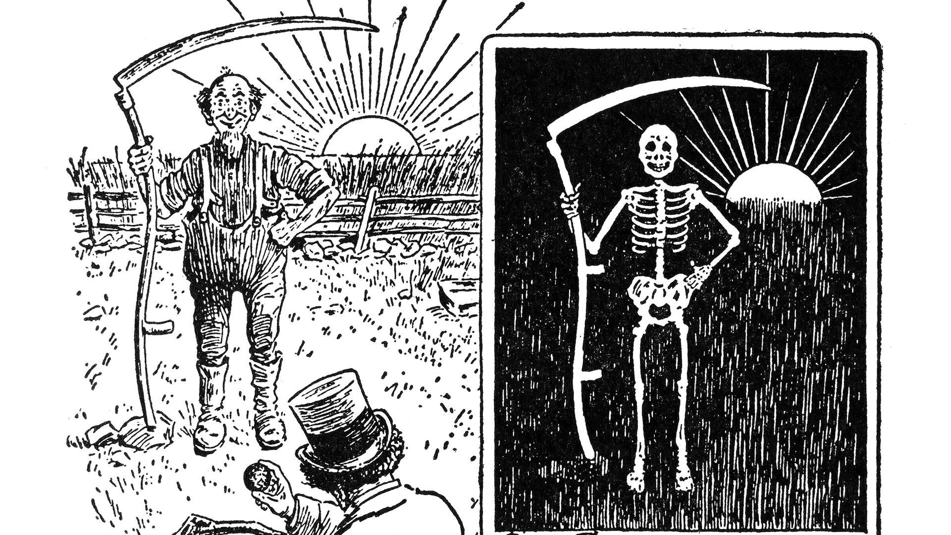 Maanviljelijää viikatteen kanssakuvataan röntgenillä ja lopputulos on luurankoviikatemies.