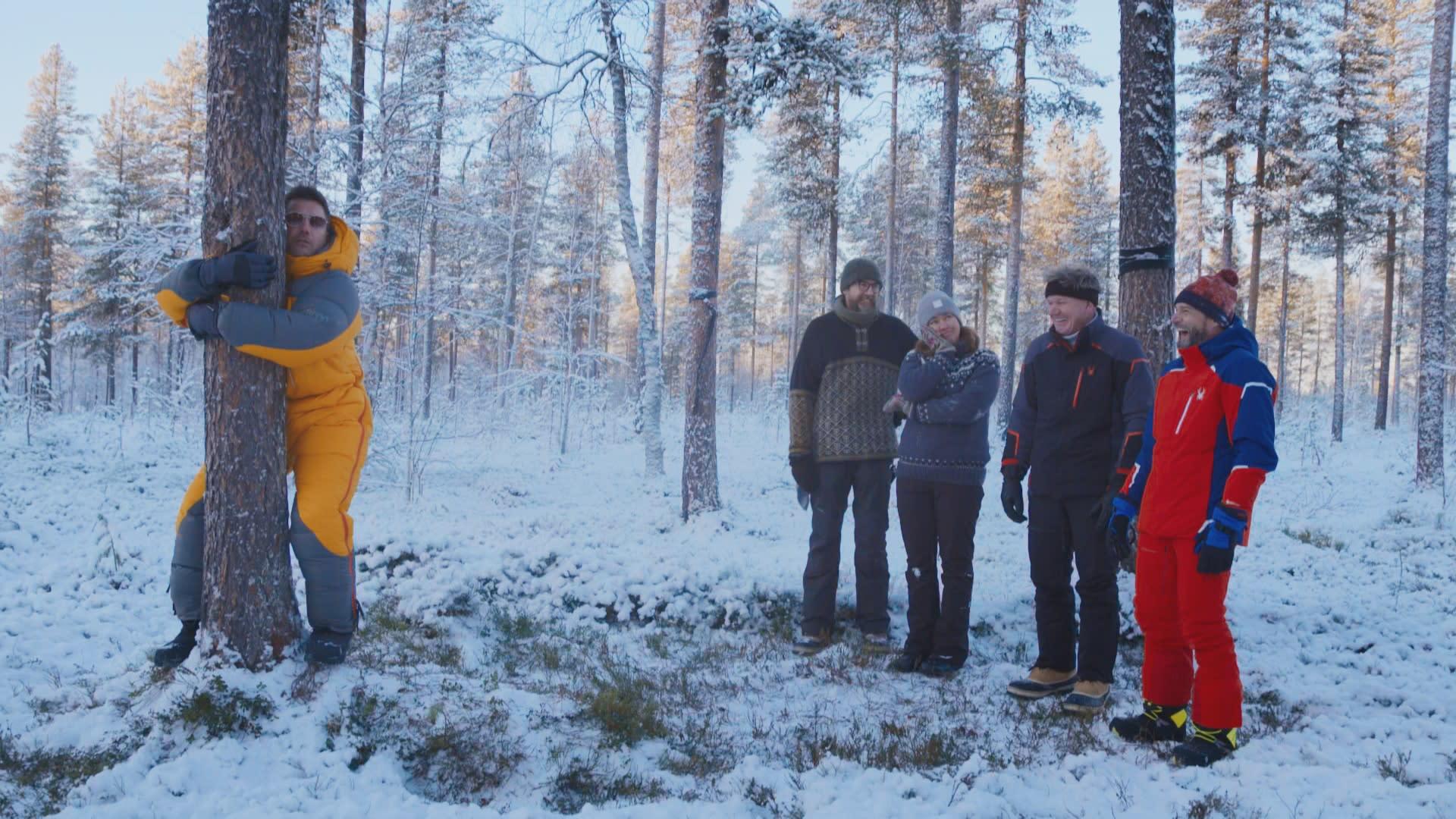 Gino D'Acampo halaa puuta Kittilän Levin HaliPuussa, muun muassa Gordon Ramsay seuraa vierestä