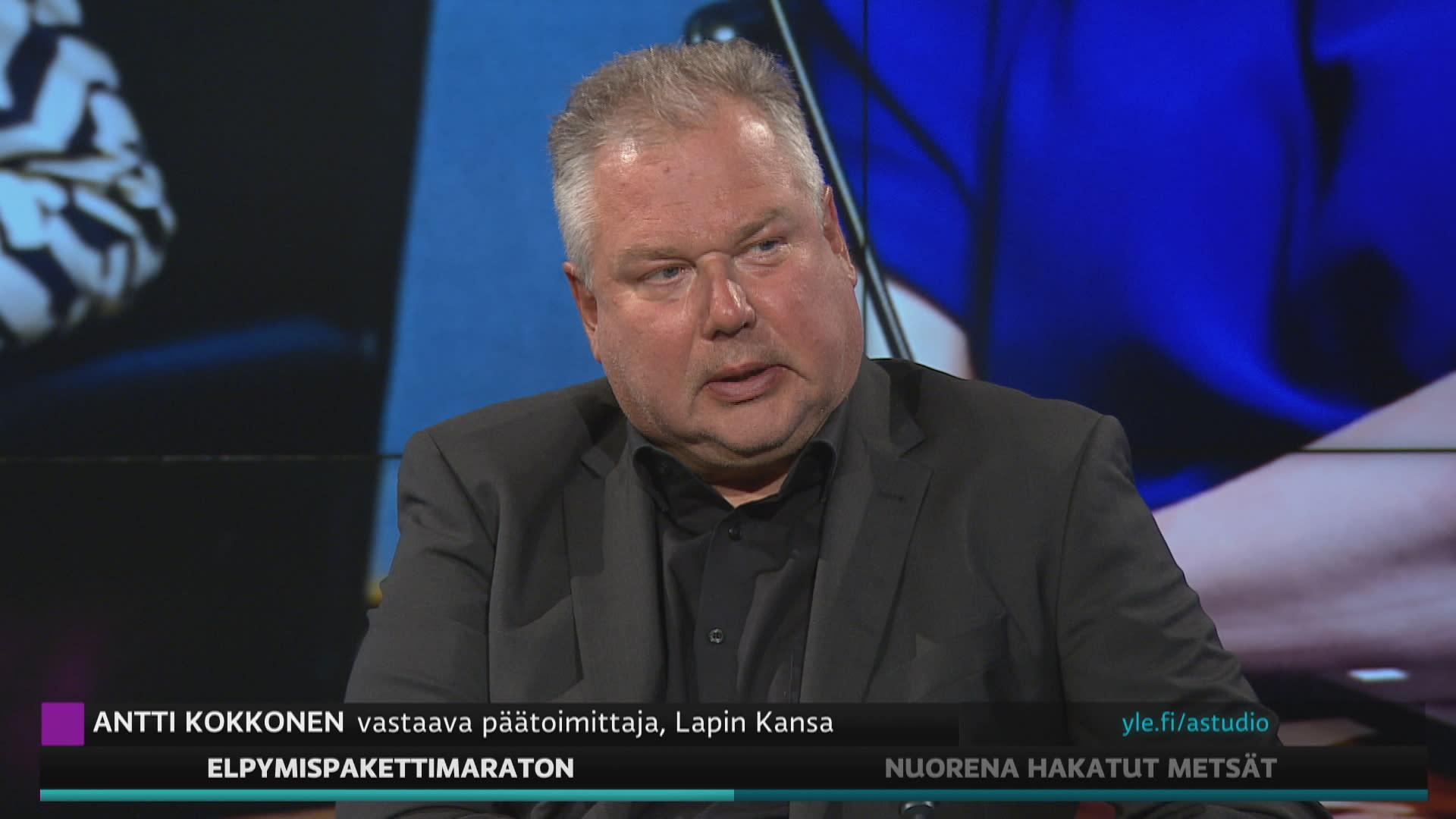 Lapin Kansan vastaava päätoimittaja Antti Kokkonen A-studiossa.