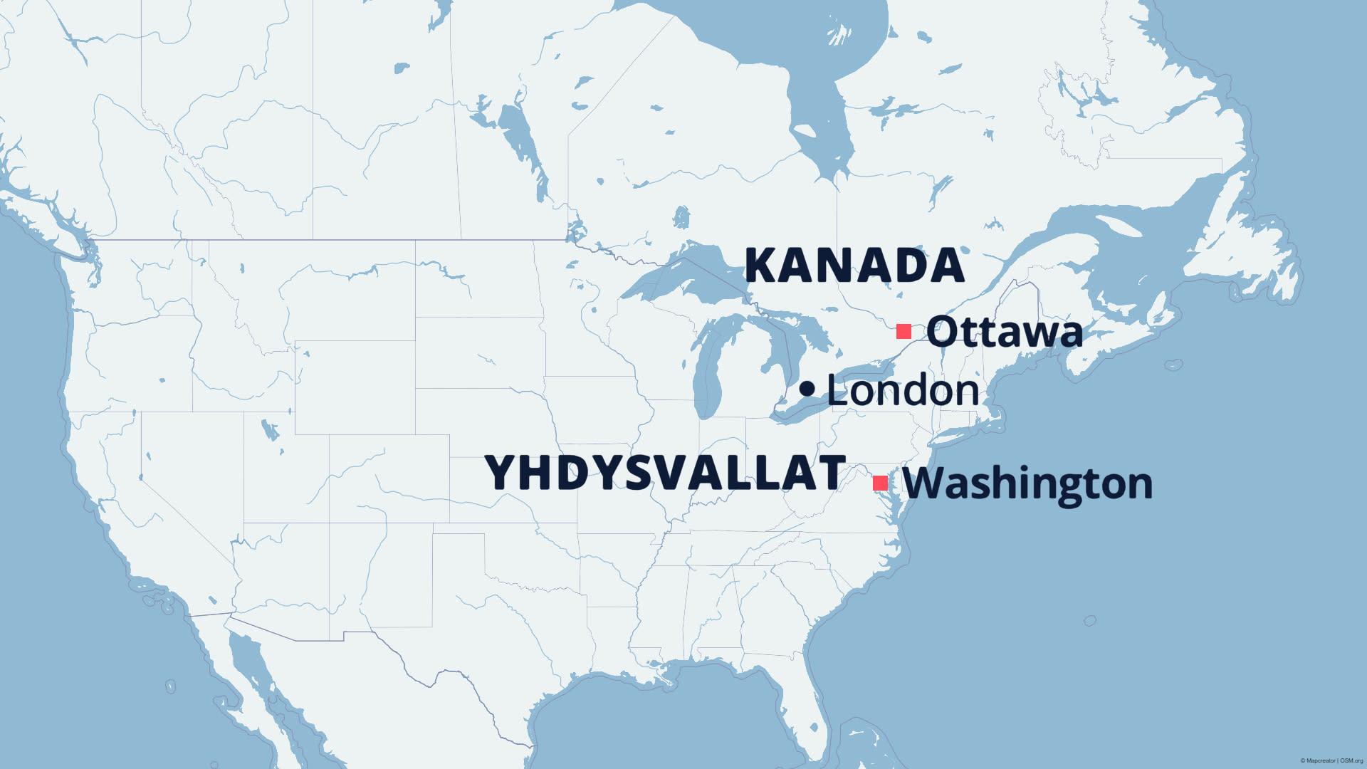 Kartta osoittaa Londonin sijainnin.