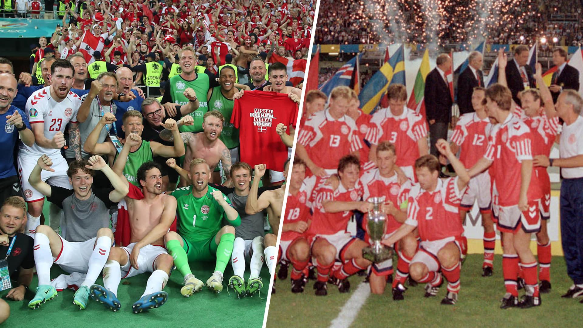 Tanskan jalkapallomaajoukkue EM-kisoissa 2021 ja 1992