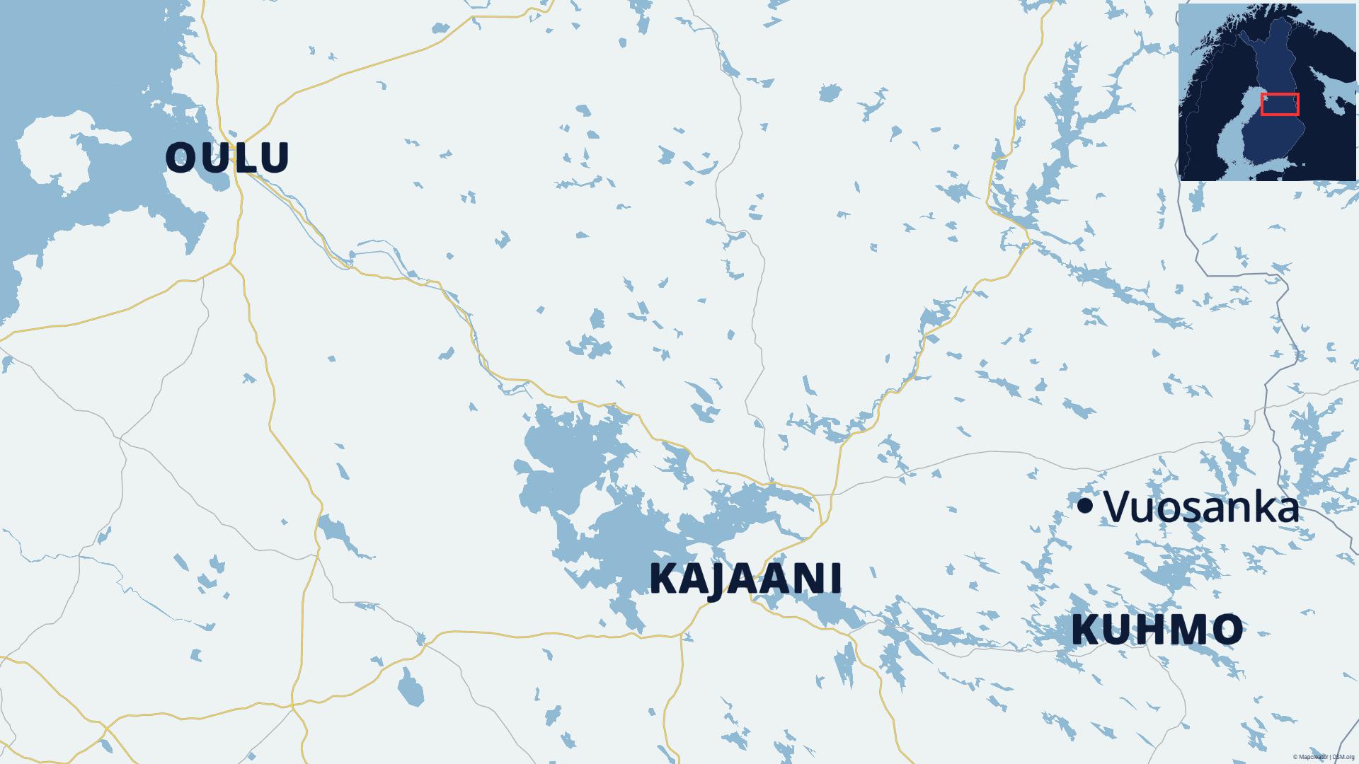 Kartalla näkyvät Oulu, Kajaani, Kuhmo ja Vuosanka.