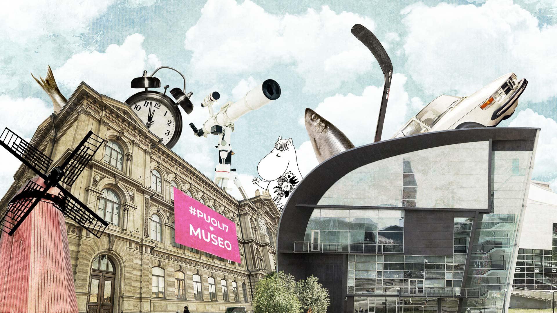 Kuvakollaasissa Ateneum, Kiasma ja erilaisiin museoihin viittaavia kuvia, kuten tuulimylly, kello ja silli.