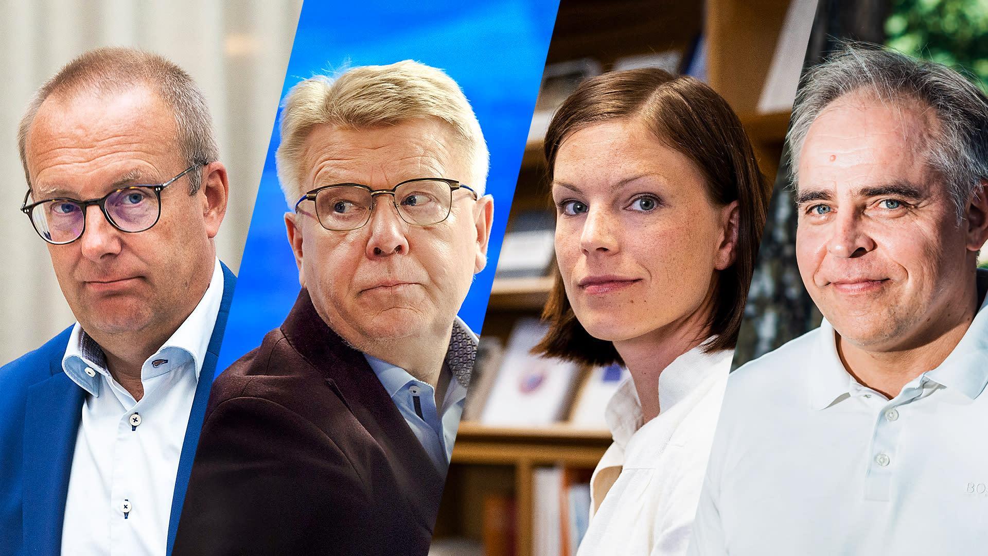 SAK:n puheenjohtaja Jarkko Eloranta,  EK:n toimitusjohtaja Jyri Häkämies,  Evan ekonomisti Sanna Kurronen ja Palkansaajien tutkimuslaitoksen johtaja Mika Maliranta A-Talkissa.