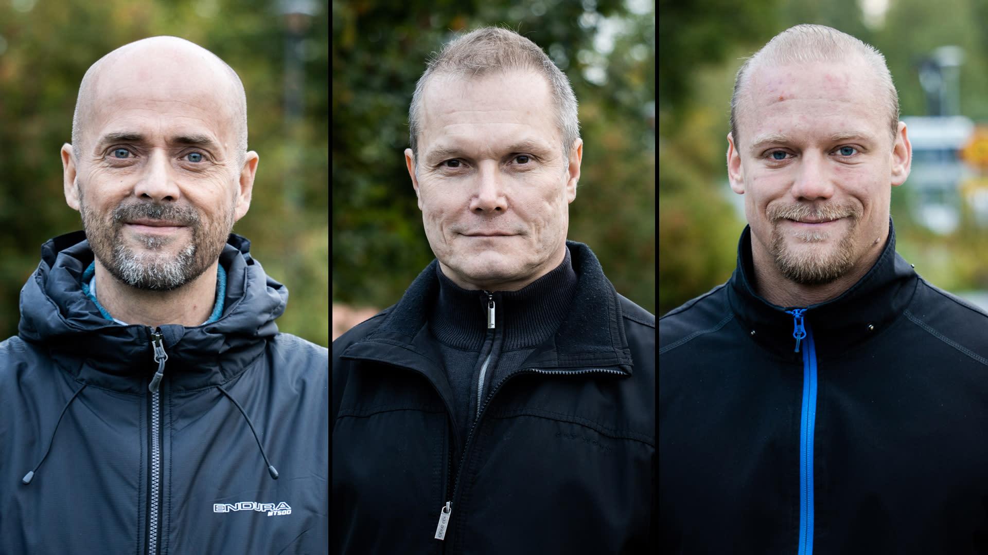 Ylöjärven vihreiden valtuustoryhmän varapuheenjohtajaTimo Halttula (vasemmalla), perussuomalaisten valtuutettuHannu Ruuskaja kaupunginvaltuuston puheenjohtaja, kokoomuksenJuho Ojares.