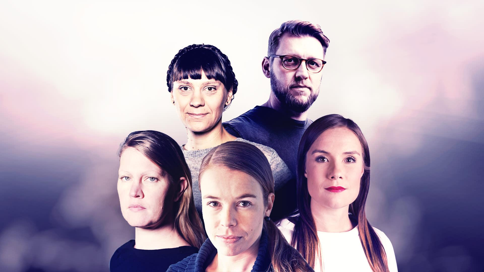 Hanna Eskonen, Jenny Matikainen, Jenni Frilander, Markku Sipi ja Kerttu Kotakorpi koostekuvassa.