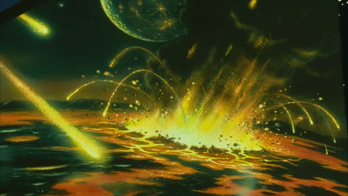Teckning över meteoritregn.