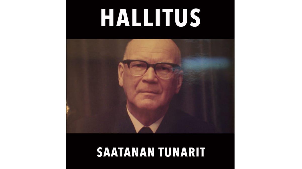Meemikuva, jossa Kekkonen katsoo kameraan ja ylhäällä teksti Hallitus sekä alhaalla lukee saatanan tunarit