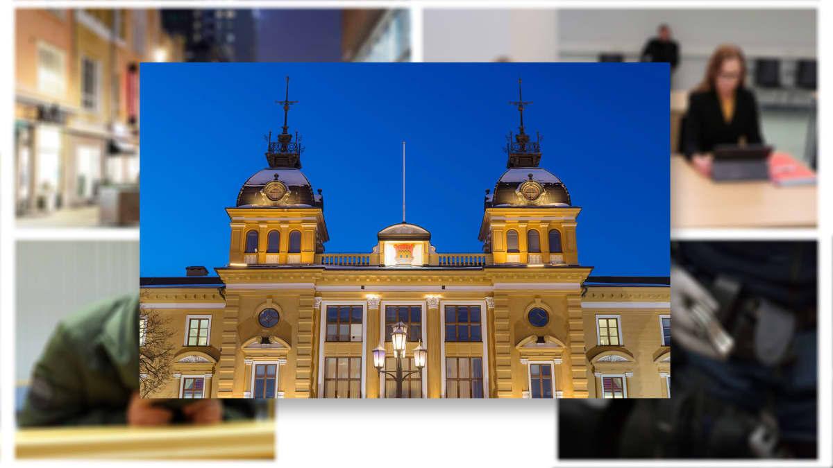 Sarjakuvamainen kollaasi Oulun seksuaalirikos tapahtumista