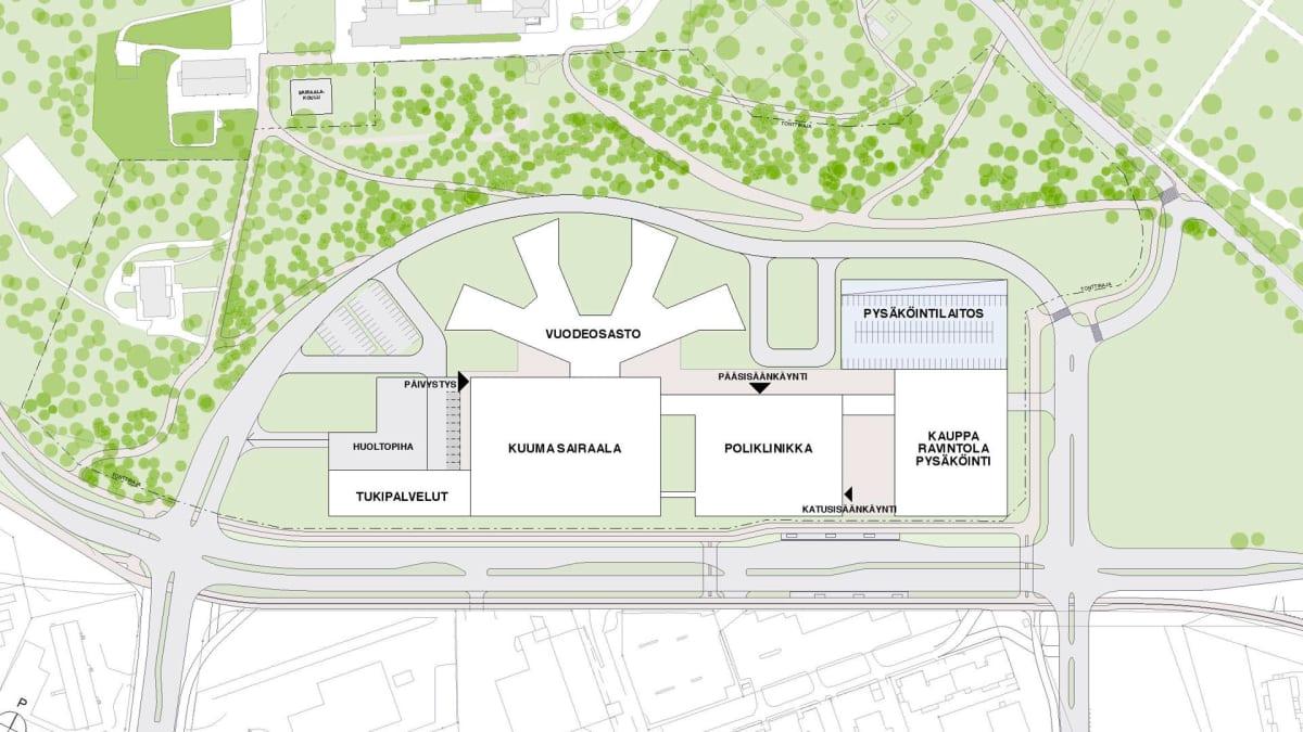 Hämeenlinnan suunnitteilla olevan Assi-sairaalan asemapiirrosluonnos.